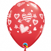 Patterned Hearts & Arrows - 11 Inch Balloons 25pcs